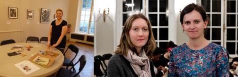 Animatrices et artistes présentent lors de l'atelier du 21 mars 2013 - A gauche Jonua Besnard et à droite Marine Gauthier avec Charlotte Auzou.