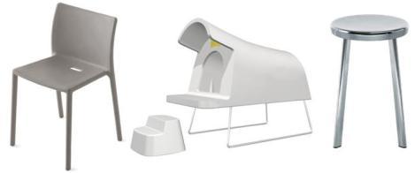 De gauche à droite: l'Air Chair - Jasper Morrison • Magis Dog House, la niche à chiens - Michael Young • Chair One de Konstantin Grcic